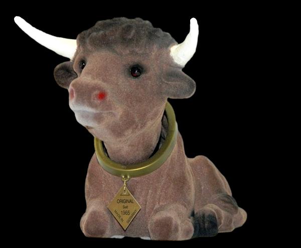 Wackel Figur Stier groß Wackelfigur H 17 cm liegend Dekofigur mit Wackelkopf