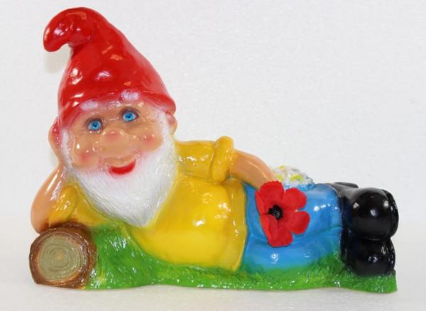 Deko Figur lustiger Zwerg H 21 cm Spaß Gartenzwerg liegend mit Blume Gartenfigur aus Kunststoff
