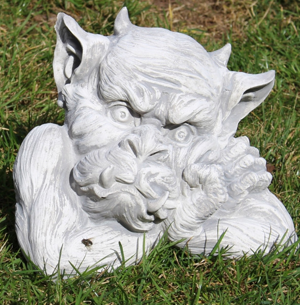 Beton Figur Büste Drache Gargoyle Torwächter H 20 cm Dekofigur und Gartenskulptur