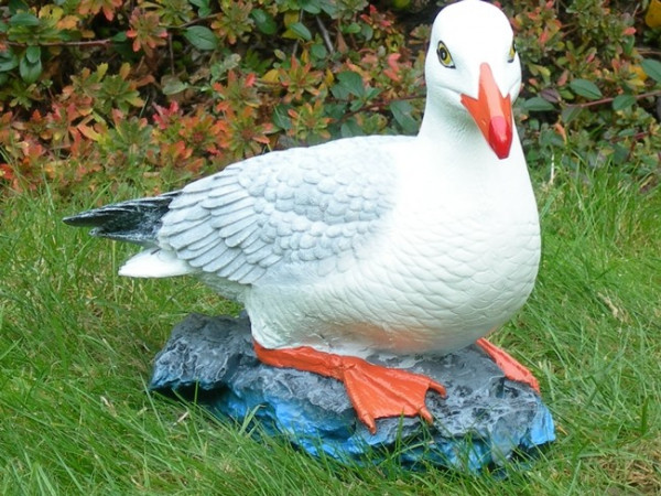 Deko Figur Möwe sitzend H 25 cm Tierfigur Gartenfigur Vogelfigur aus Kunstharz