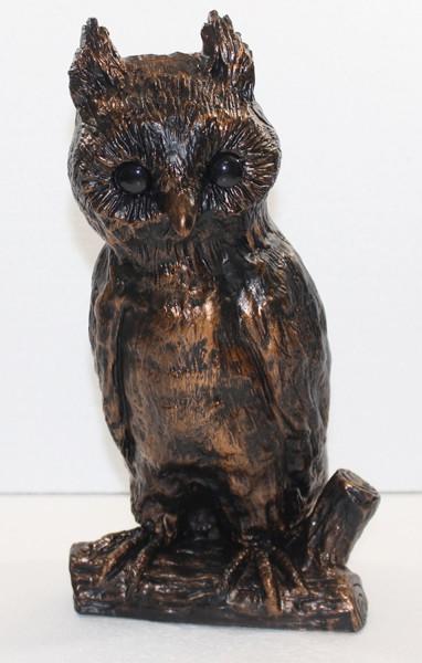 Deko Figur Eule sitzend auf Baumzweig H 32 cm Kupfer-Antik aus Kunststoff