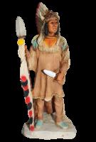 """Indianerfigur Indianer Mato-tope Häuptling """"Four Bears"""" Skulptur 19 cm stehend mit Messer u. Lanze"""
