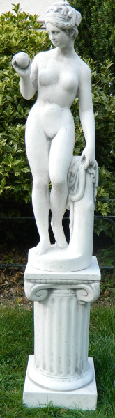 Beton Figuren Statue Venus von Canova auf ionischer Säule H 94 cm Dekofiguren Gartenskulpturen