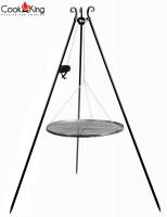 Schwenkgrill mit Kurbel H 180 cm mit Grillrost Ø 50 cm aus Rohstahl Dreibein Grill Grillständer