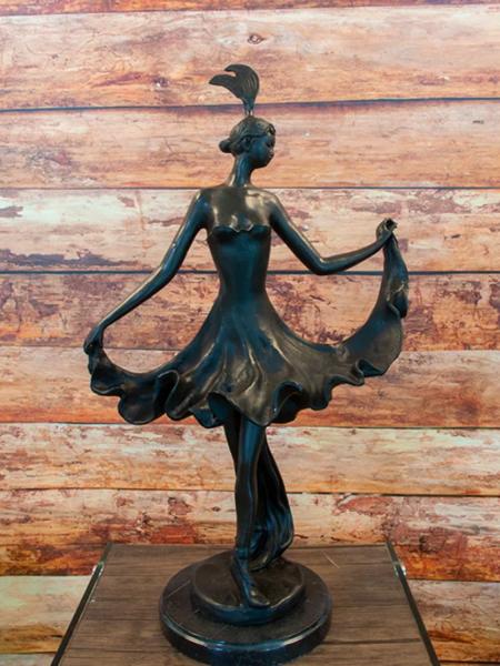 Bronzefigur Bronzeskulptur Tänzerin im Jugendstil H 61 cm Art nouveau Figur Dekofigur Skulptur