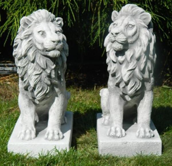 Beton Figuren Gartenfiguren Löwen rechts und links blickend H 35 cm Dekofiguren und Gartenskulpturen