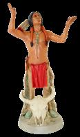 Indianerfigur Indianer Crazy Horse Anführer H 21 cm steh. mit Büffelschädel Castagna Limited Edition