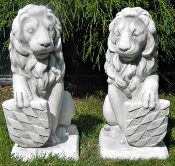 Beton Figuren Löwen Wappen auf rechter und linker Seite H 40 cm Dekofiguren und Gartenskulpturen