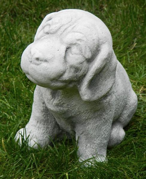 Beton Figur Hund Welpe sitzend H 18 cm Tierfigur Dekofigur und Gartenfigur