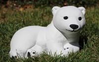 Beton Figur kleiner Eisbär H 16 cm Dekofigur und Gartenfigur