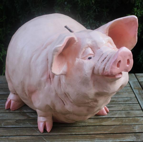 Dekorationsfigur Tierfigur Schwein Spardose H 36 cm Schweinefigur Dekofigur Gartenfigur Kunstharz
