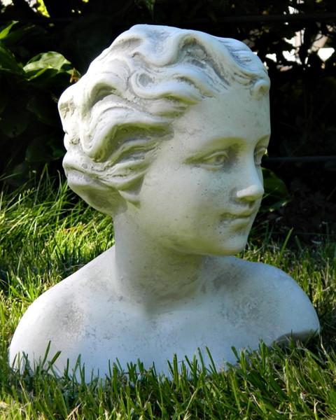 Beton Figur Gartenfigur Büste Mädchen Kind H 25 cm Statue Gartenskulptur aus Beton
