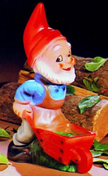 Gartenzwerg mit Schubkarre Figur Zwerg H 29 cm Gartenfigur aus Kunststoff