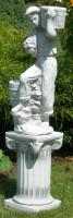 Beton Figuren Junge mit Töpfen auf ionischer Säule Dekofiguren und Gartenskulpturen