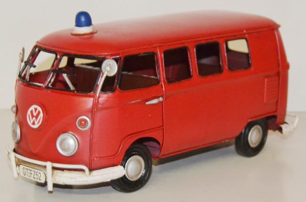 Blechauto Nostalgie Modellauto Oldtimer Feuerwehr VW Bus T1/T2 Feuerwehrauto aus Blech L 27 cm