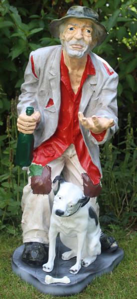 Dekofigur Bettler groß stehend mit Flasche in Hand und Hund am Fuß H 91 cm Gartenfigur aus Kunstharz