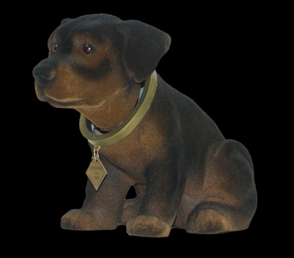Wackel Figur Hund Rottweiler Wackelfigur H 17 cm braun groß Dekofigur mit Wackelkopf