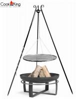 """Set: Dreibein H 180 cm mit Grillrost Ø 50 cm aus Rohstahl + Feuerschale """"Viking"""" Ø 60 cm Grillen"""