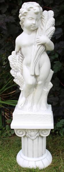 Deko Figur Statue Vierjahreszeiten Putte Sommer auf ionischer Säule H100 cm Satz 2-teilig Kunststoff