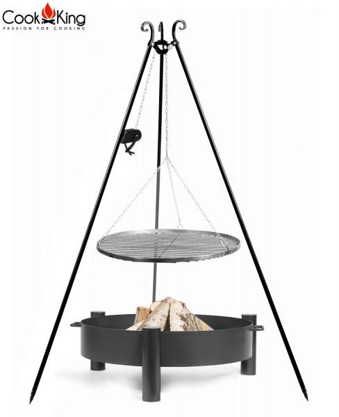 """Set: Dreibein H 180 cm mit Grillrost Ø 70 cm aus Rohstahl und Kurbel + Feuerschale """"Haiti"""" Ø 80 cm"""