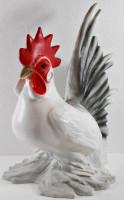 Deko Garten Figur Dekofigur Gartenfigur Tierfigur weißer Hahn stehend aus Kunststoff Höhe 30 cm