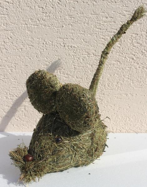 Deko Heu Figur Maus Länge 30 cm Tierfigur aus Naturmaterial Heu zum Basteln Heudeko