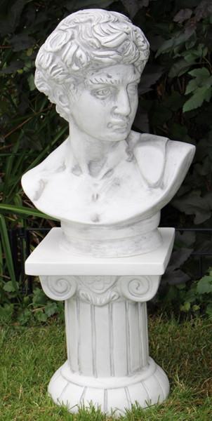 Deko Figur Statue Büste David von Michelangelo auf ionischer Säule H 74 cm Satz 2-teiig Kunststoff