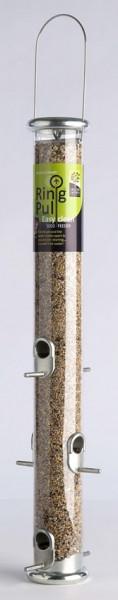 "Naturschutzprodukt Futtersäule Ring-Pull Pro maxi "" silber Vogelprodukt H 55,5 cm Inhalt 1,5 l"""