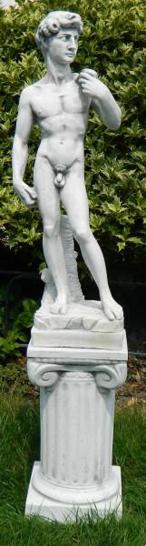 Beton Figuren Statue David von Michelangelo auf ionischer Säule H 92 cm Dekofiguren Gartenskulpturen