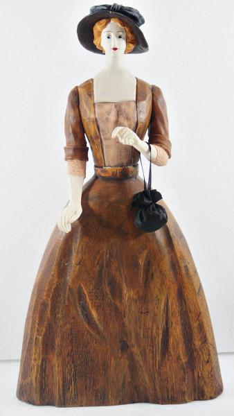 Modefigur Beauty Figur Deko Modepuppe Nostalgiefigur Dame braunes Kleid mit Handtasche aus Holz