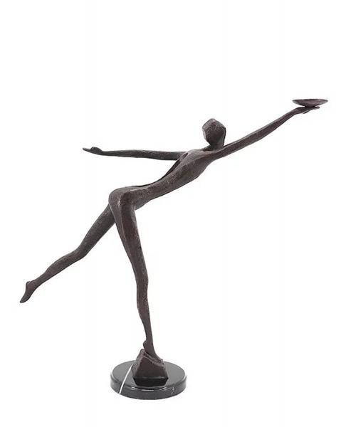 Bronzefigur Bronzeskulptur Abstrakte Figur modern auf Marmorsockel B 71 cm Figur Dekofigur Skulptur