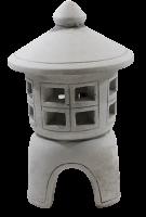 Beton Figur japanische Laterne H 23 cm Gartenskulptur Steinlaterne 2-teilig für Teelicht geeignet