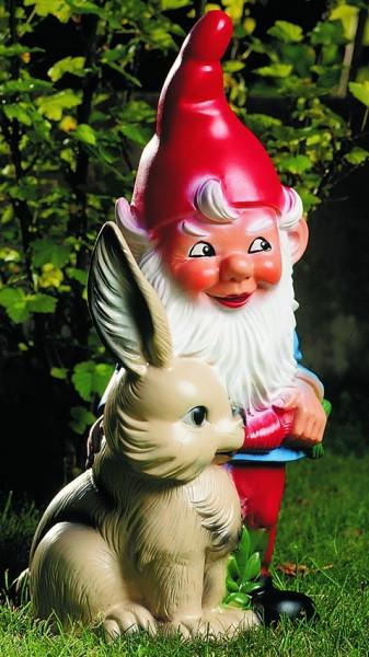 Gartenzwerg mit Hase Figur Zwerg H 38 cm Gartenfigur aus Kunststoff
