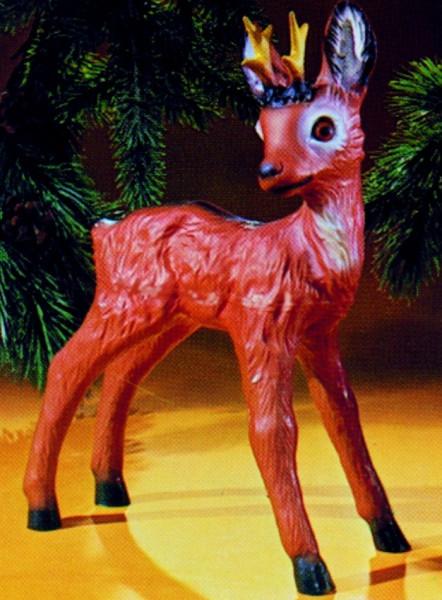 Deko Figur Rehbock stehend H 44 cm Gartenfigur Dekofigur aus Kunststoff