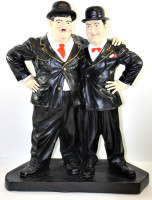 Dekorationsfiguren Komiker Dick und Doof Freunde H 51 cm stehend auf Sockel Deko Figuren Kunstharz
