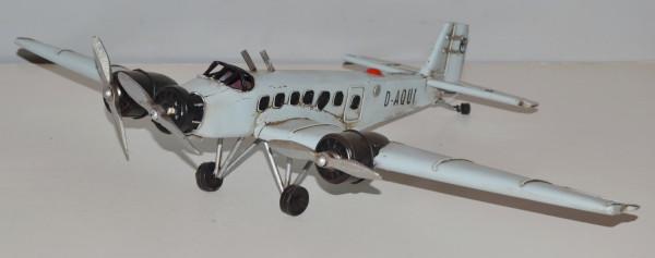 Blechflugzeug Nostalgie Modellflugzeug Oldtimer Marke Junkers Ju 52 Flugzeug Modell aus Blech L 34cm