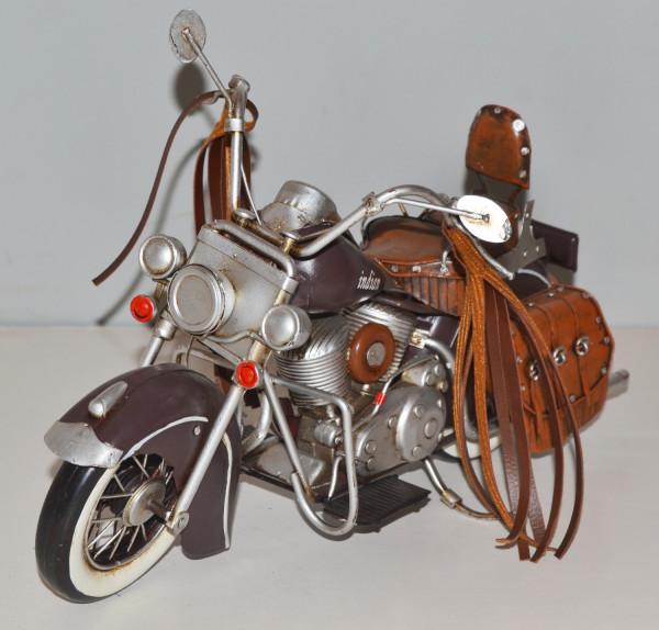 Blechmotorrad Nostalgie Modellauto Oldtimer Marke Indian Chief Motorrad USA aus Blech L 31 cm