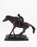 Bronzefigur Bronzeskulptur Tierfigur Jockey auf Pferd aus Bronze auf Marmorsockel H 43 cm Deko Figur