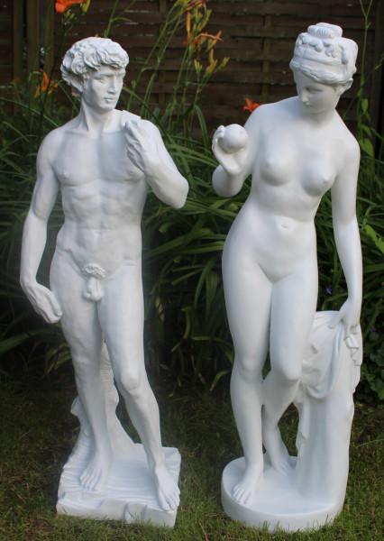 Deko Statuen Skulpturen Venus und David stehend H 115/110 cm 2-er Satz Gartenskulpturen Kunstharz