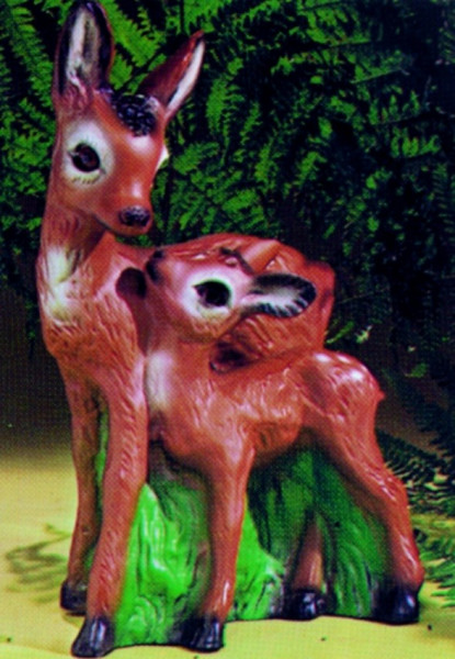 Deko Figur Reh mit Kitz stehend H 40 cm Gartenfigur Dekofigur aus Kunststoff