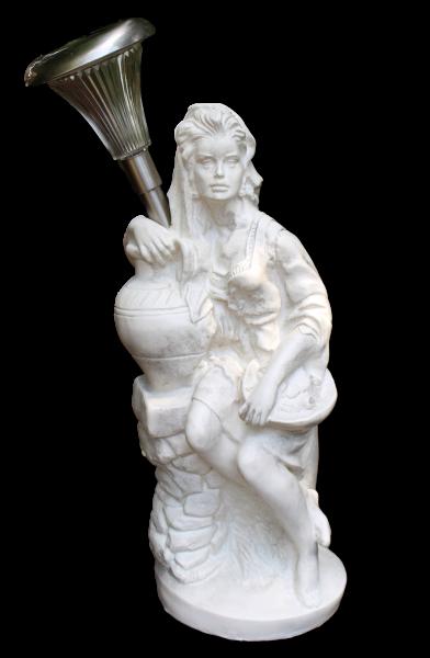 Deko Figur Statue Frau Fruttina H 50 cm LED Solar Leuchte klassische Skulptur Deko aus Kunststoff