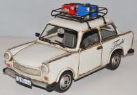 Blechauto Nostalgie Modellauto Oldtimer Trabant Trabi mit Dachgepäck Koffer aus Blech L 28 cm