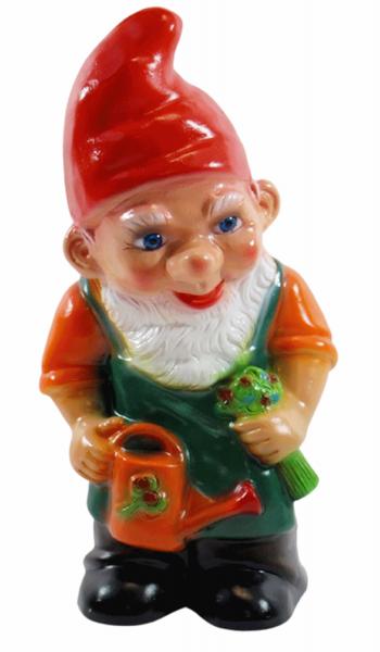 Deko Figur Zwerg H 28 cm Gartenzwerg stehend mit Gießkanne Gartenfigur aus Kunststoff
