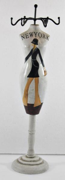 Schmuckbüste Beauty Figur Deko Modefigur Nostalgiefigur Weißes Torso mit New York Schriftdruck