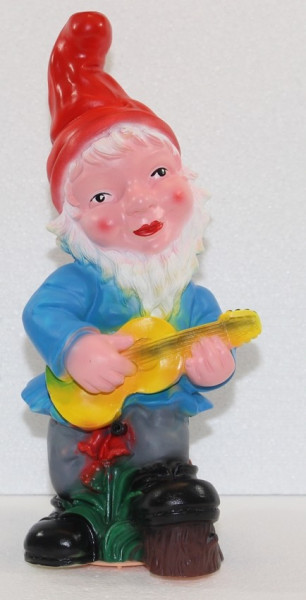 Gartenzwerg mit Gitarre Figur Zwerg H 33 cm Gartenfigur aus Kunststoff