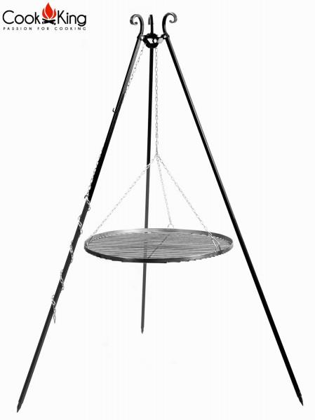 Schwenkgrill H 180 cm mit Grillrost Ø 60 cm aus Rohstahl Dreibein Grill Tripod Grillständer