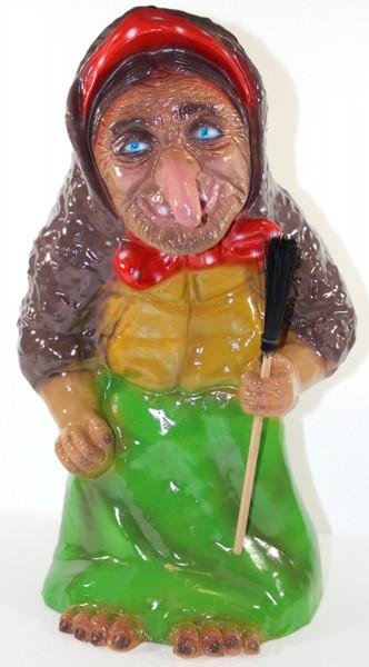 Deko Garten Figur Gartenfigur Märchen Hexe mit Besen stehend aus Kunststoff Höhe 40 cm