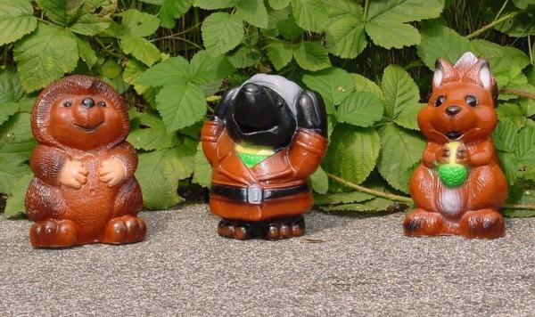 Deko Figuren Igel Maulwurf Eichhörnchen H 18 cm sortiert 3-er Set Gartenfiguren Dekofiguren