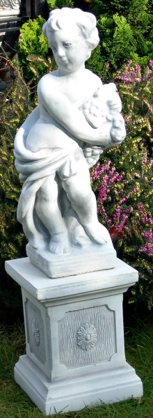 Beton Figuren Statue Putte Vierjahreszeiten Herbst auf klassischer Säule H 79 cm Gartenskulpturen