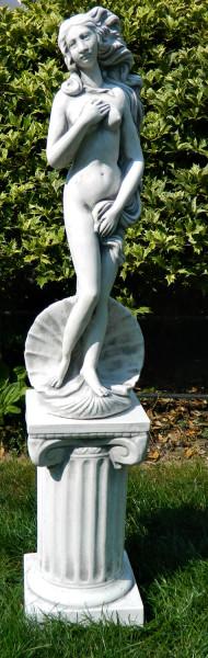 Beton Figuren Statue Venus von Botticelli auf ionischer Säule H 91 cm Dekofiguren Gartenskulpturen